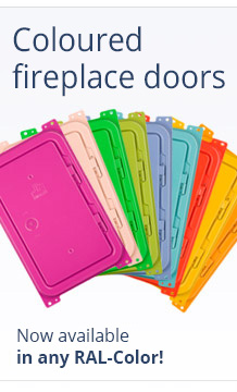 Coloured fireplace doors